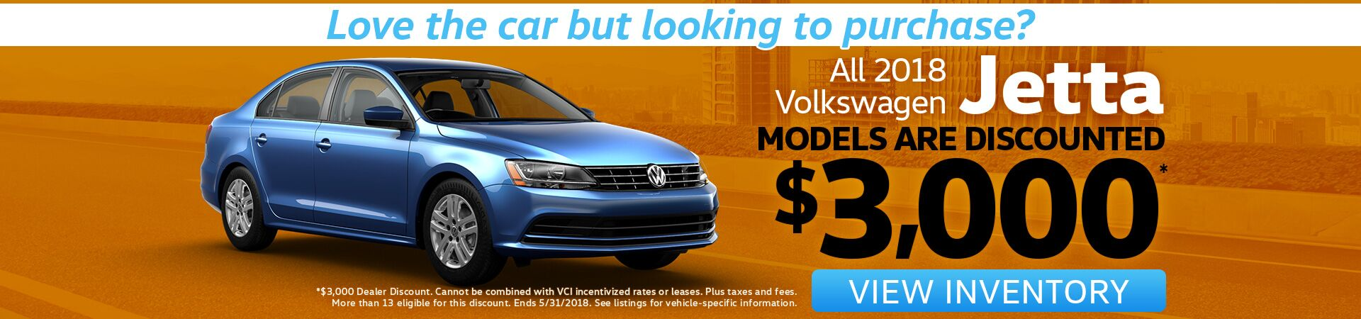 Jetta Purchase Special for May!