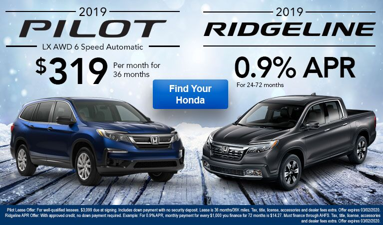 Pilot and Ridgeline January Offer