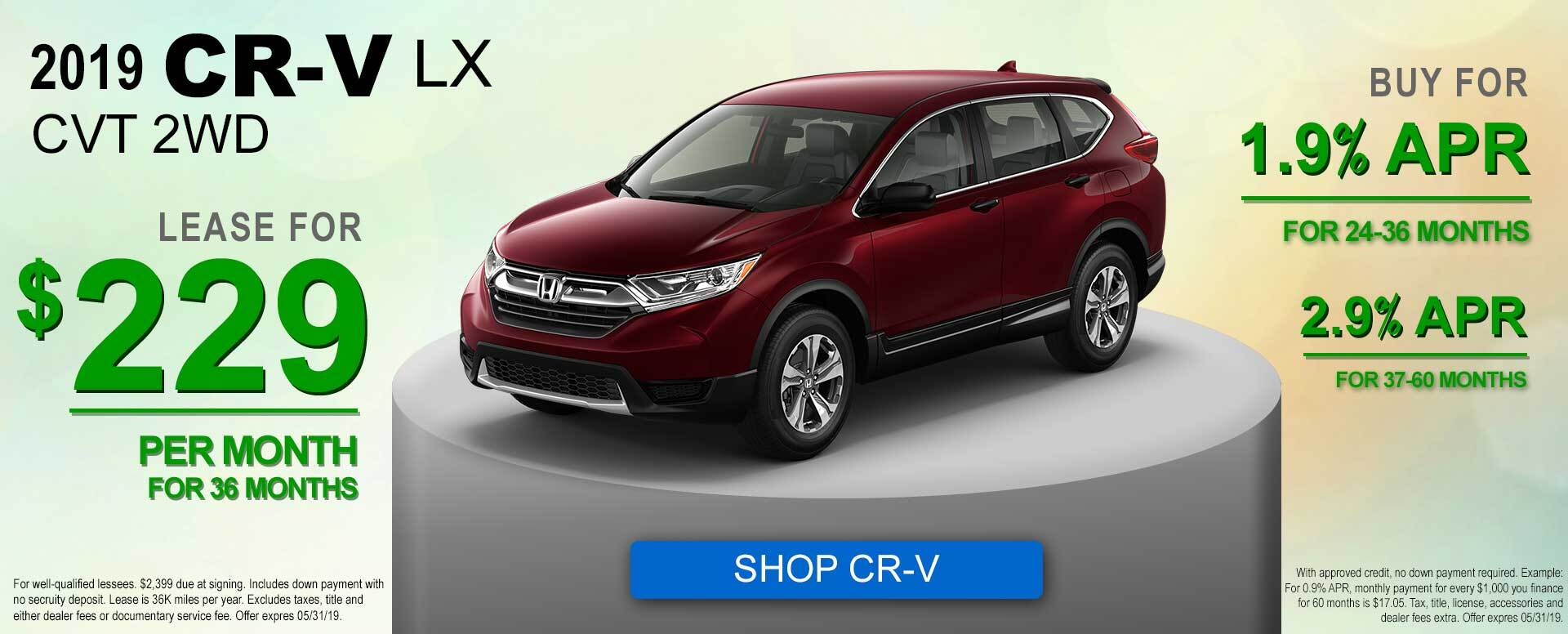 2019 CR-V LX Lease and APR Offer