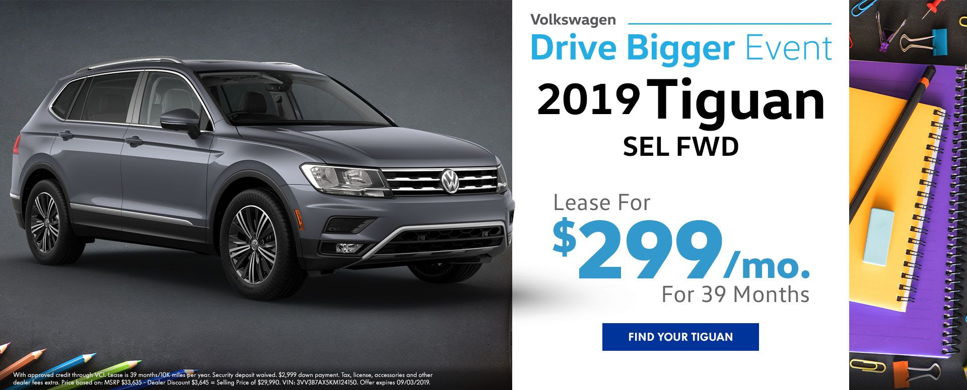 2019 Tiguan SEL Lease Offer