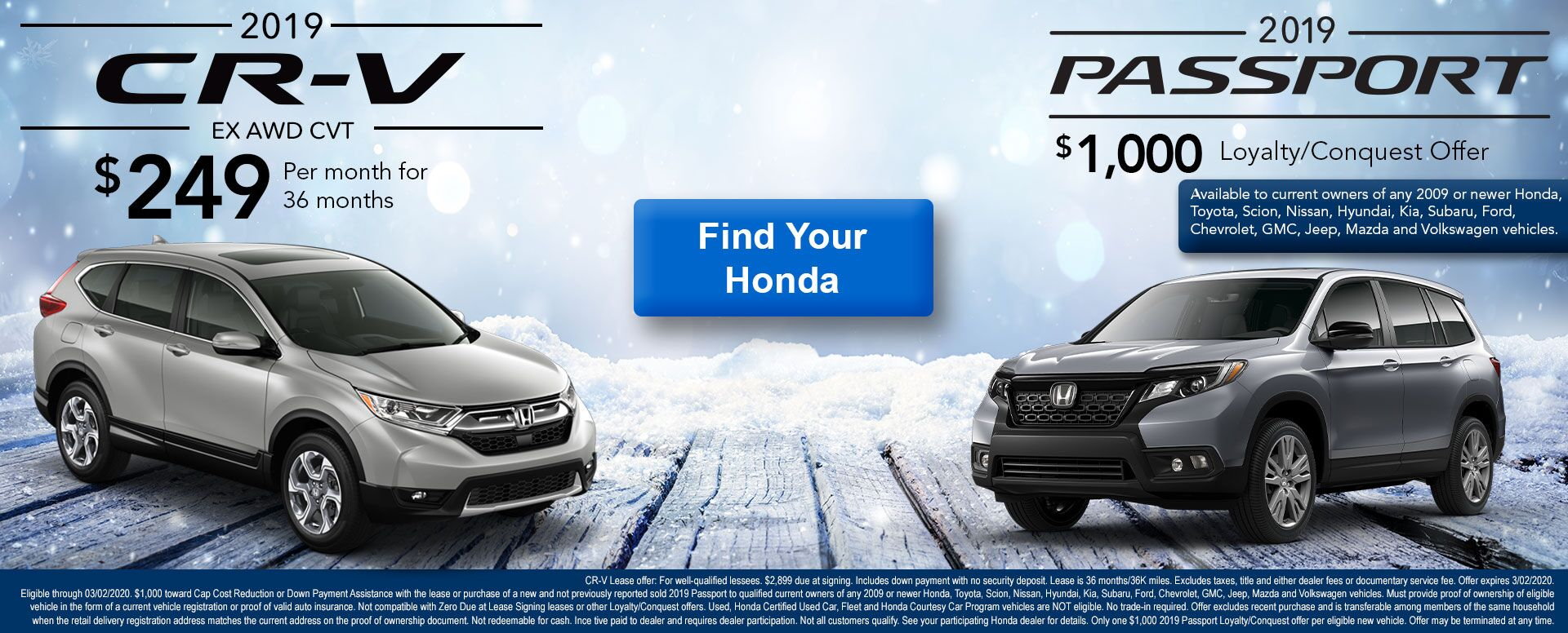 CR-V and Passport January Offer