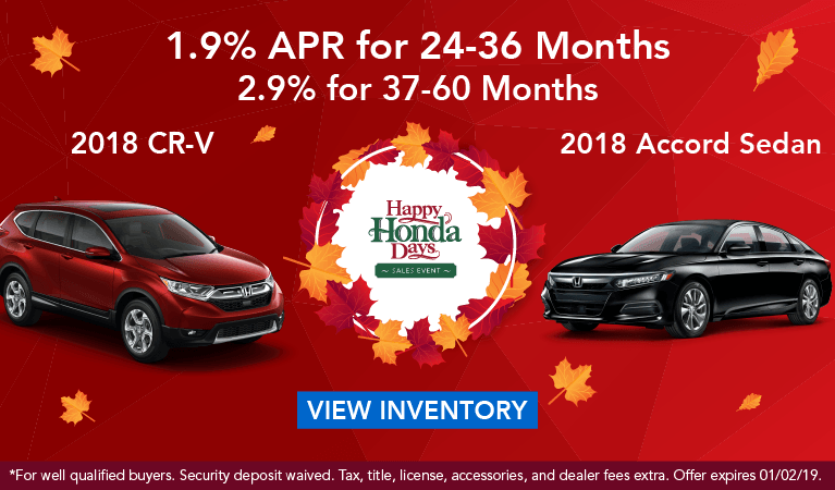 Happy Honda Days CR-V & Accord APR Nov18