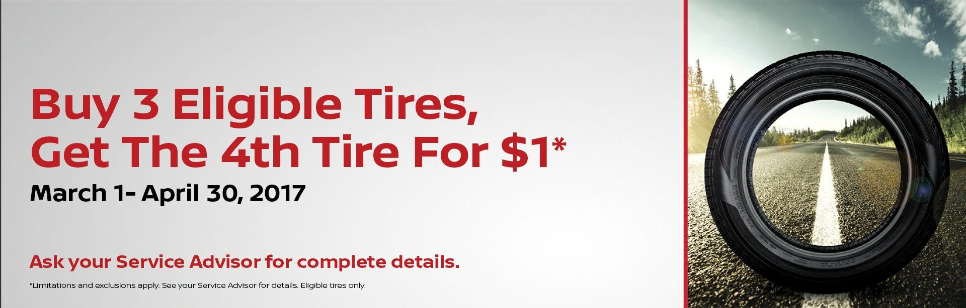 Nissan Buy 3 Tires, Get 4th For $1