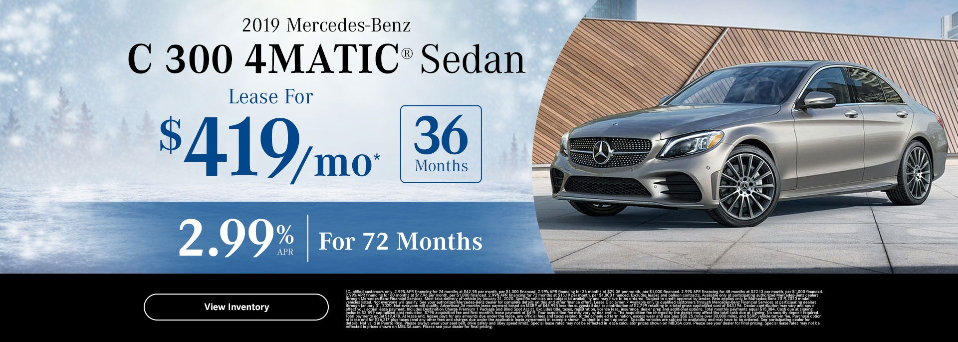2019 C 300 4MATIC lease special