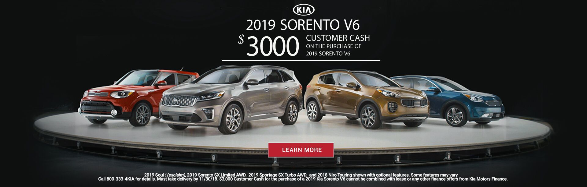 November Sorento Customer Cash 201820