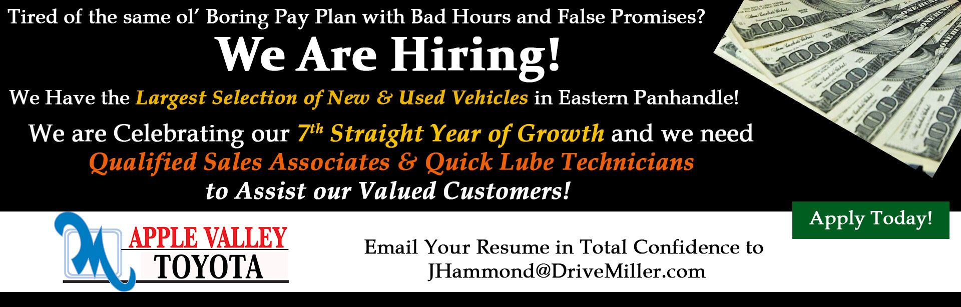 Now Hiring in October