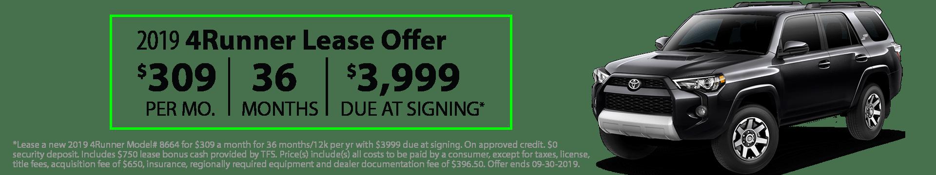 2019 4Runner Special Lease Offer