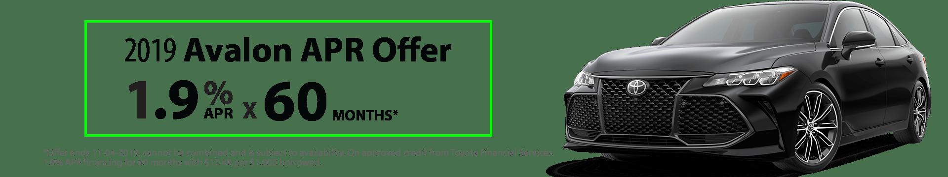 2019 Avalon 1.9% x 60 months Special Finance Offer