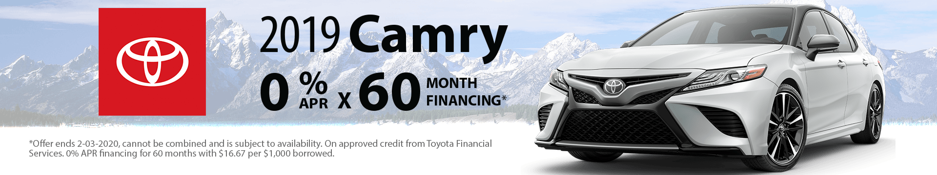 2019 Camry 0% x 60 months Special Finance Offer