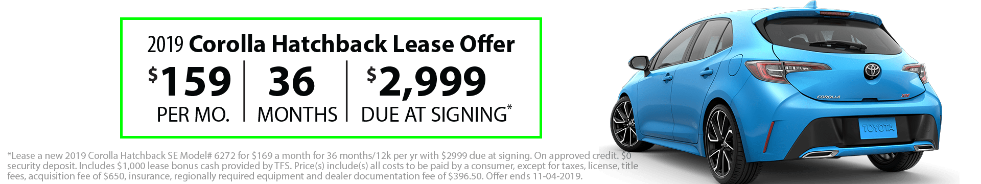 2019 Corolla Hatchback Special Lease Offer