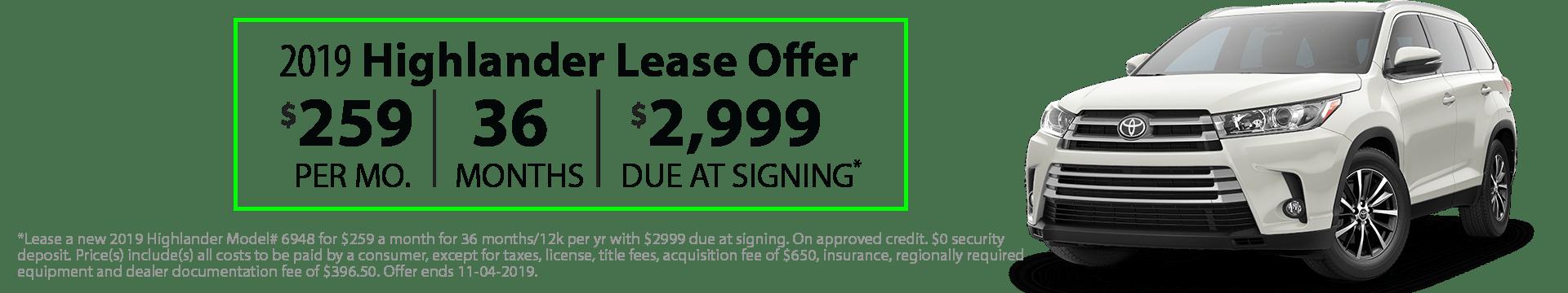 2019 Highlander Special Lease Offer