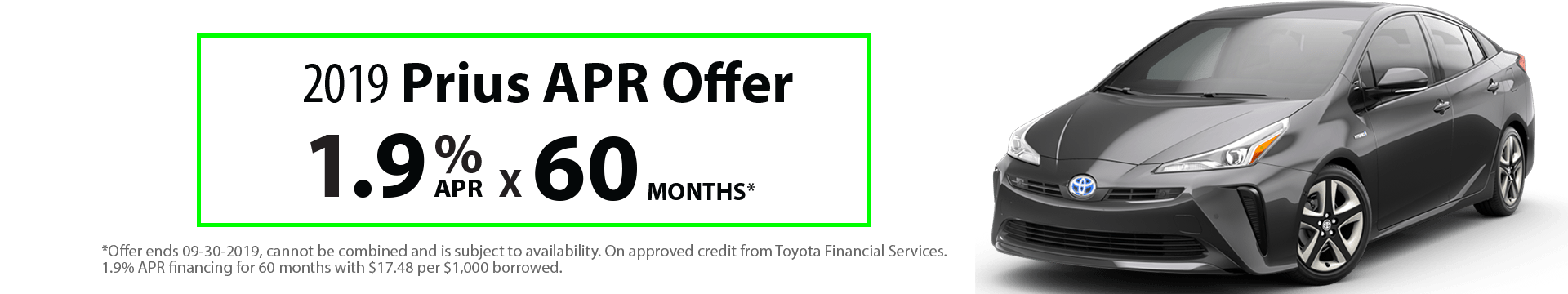 2019 Prius 1.9% x 60 months Special Finance Offer