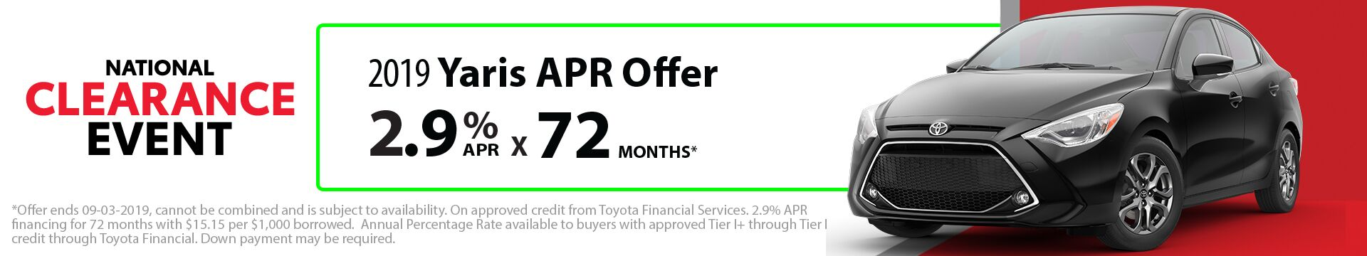 2019 Yaris APR Offer