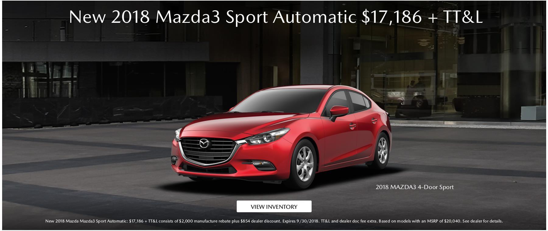 New 2018 Mazda3 Sport Automatic September Special
