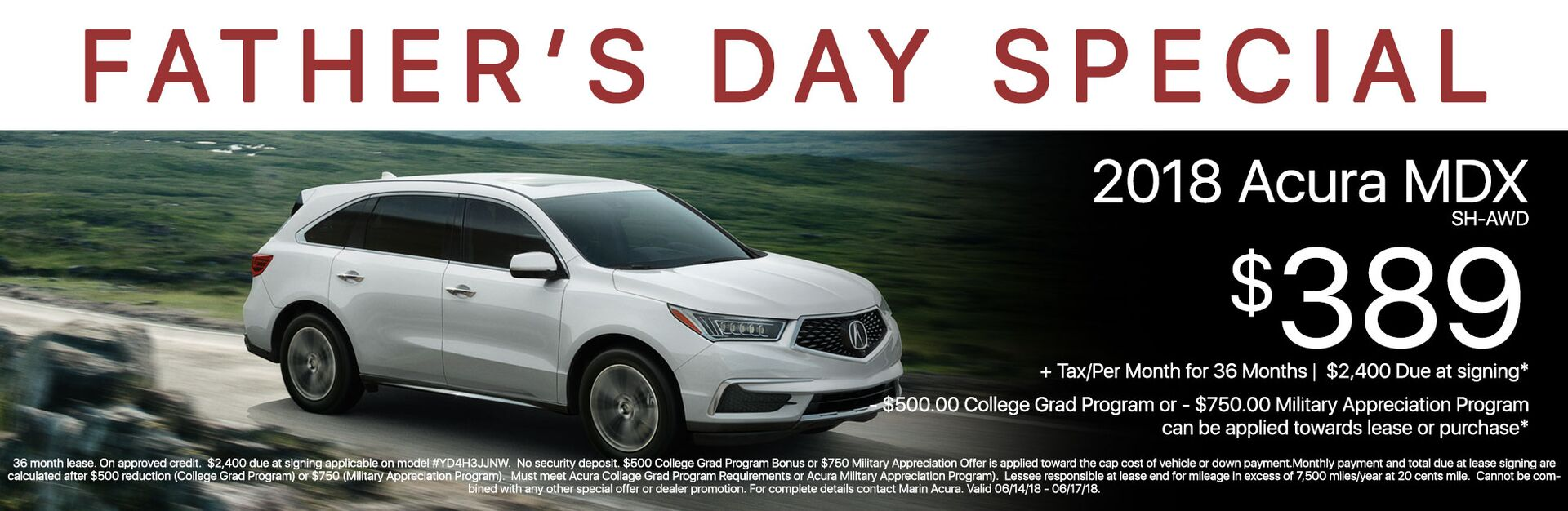 2018 Acura MDX Lease Memorial Weekend Sale