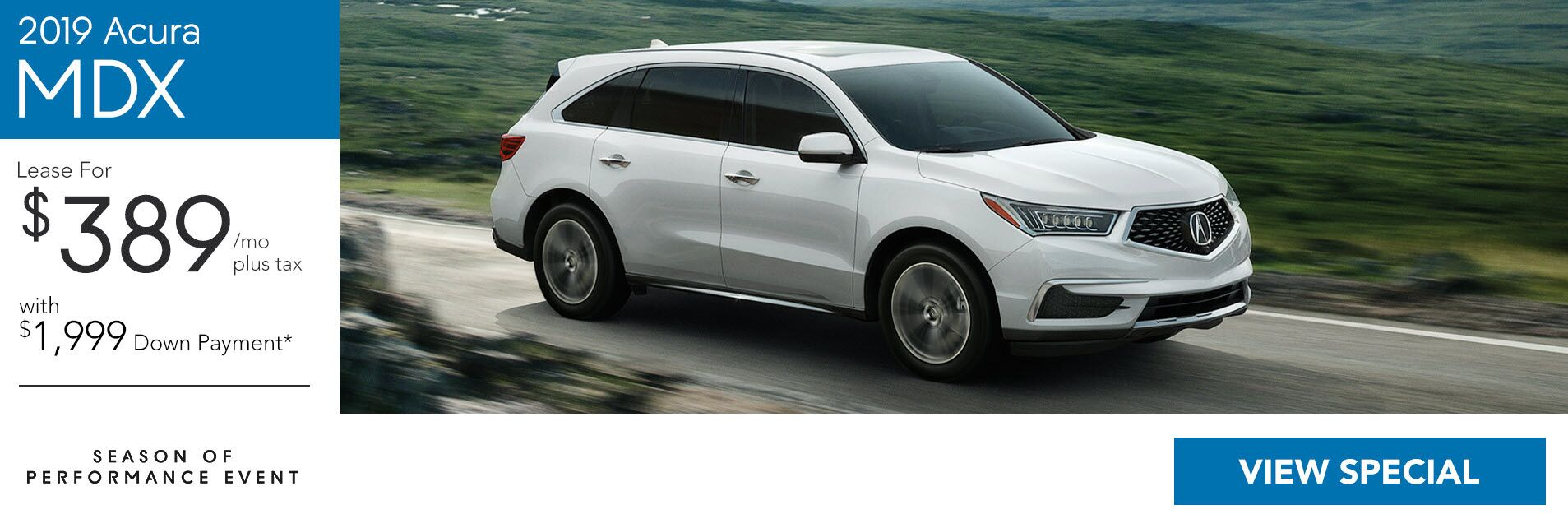 2019 Acura MDX for $389/36 Mo. with $1,999 Down