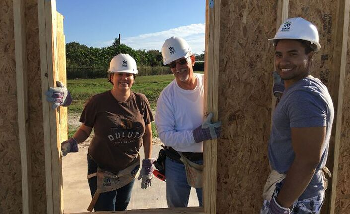 Scanlon Auto Group 2019 Habitat Build Photo Jill Waruszewki, John Gallman, and Andrew Asencio