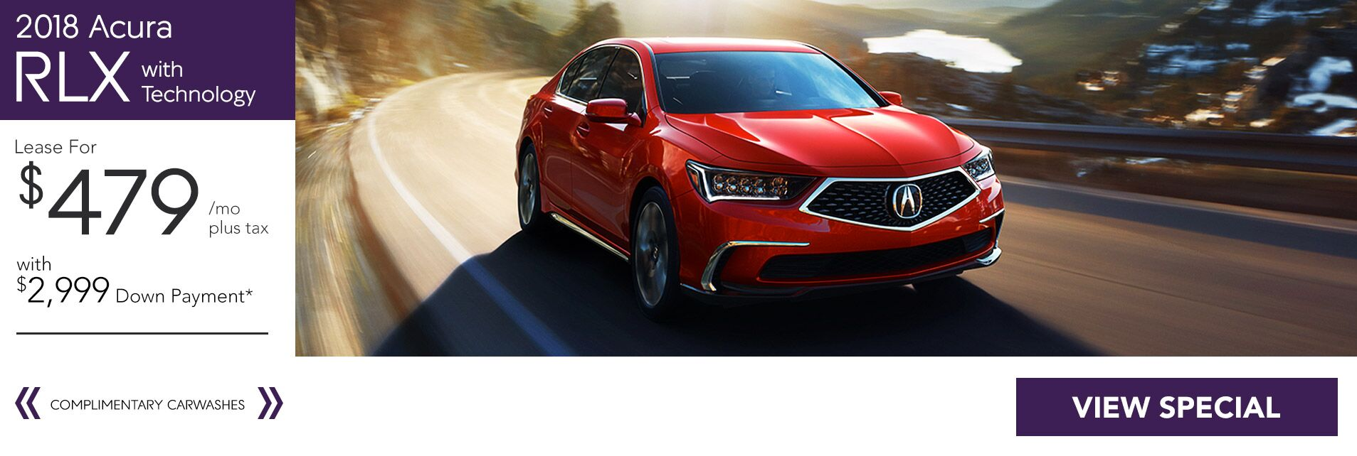 Lease a 2018 Acura RLX Tech for $479/36Mo. with $2,999 Down