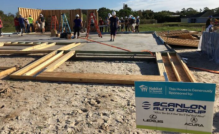 Scanlon Auto Group 2019 Habitat Build Photo First Two Walls