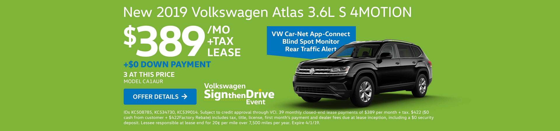 2019 Atlas 3.6L S 4MOTION Lease