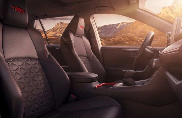 A photo of the front seats in the 2021 Toyota RAV4.