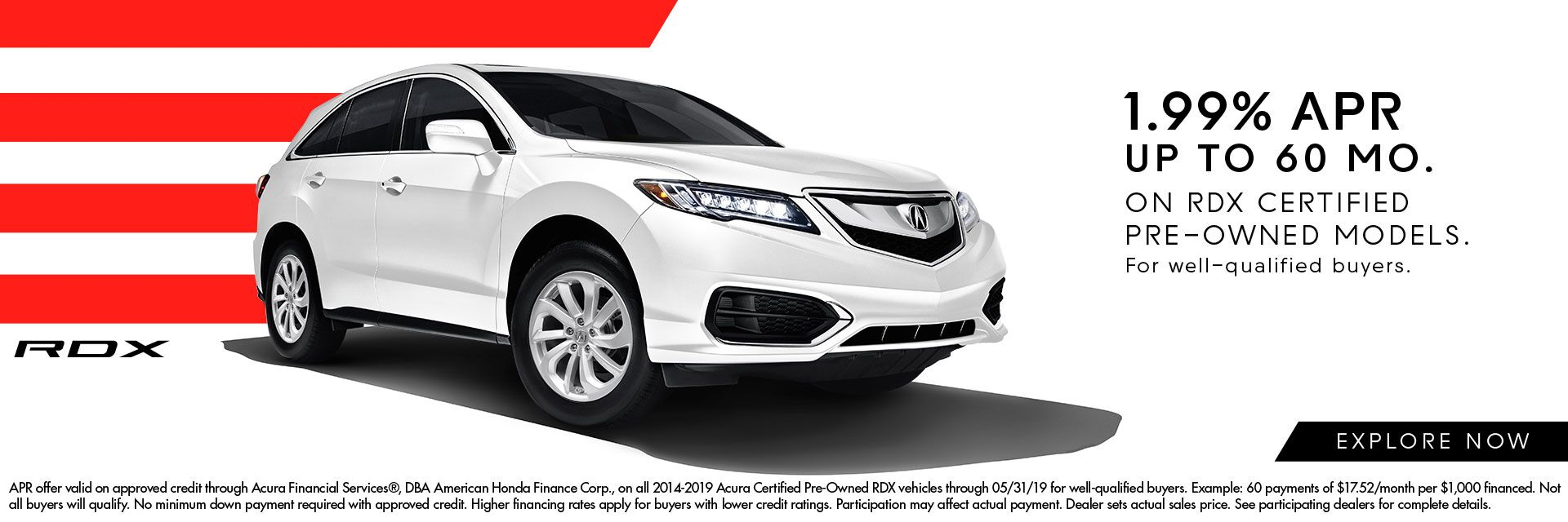 1.99% APR Incentives on Certified RDX at Montaño Acura
