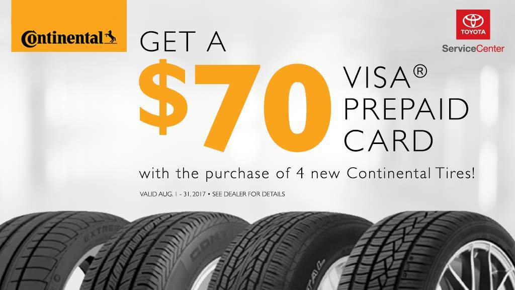 $70 Prepaid Card with Purchase of 4 Continental Tires at South Dade Toyota