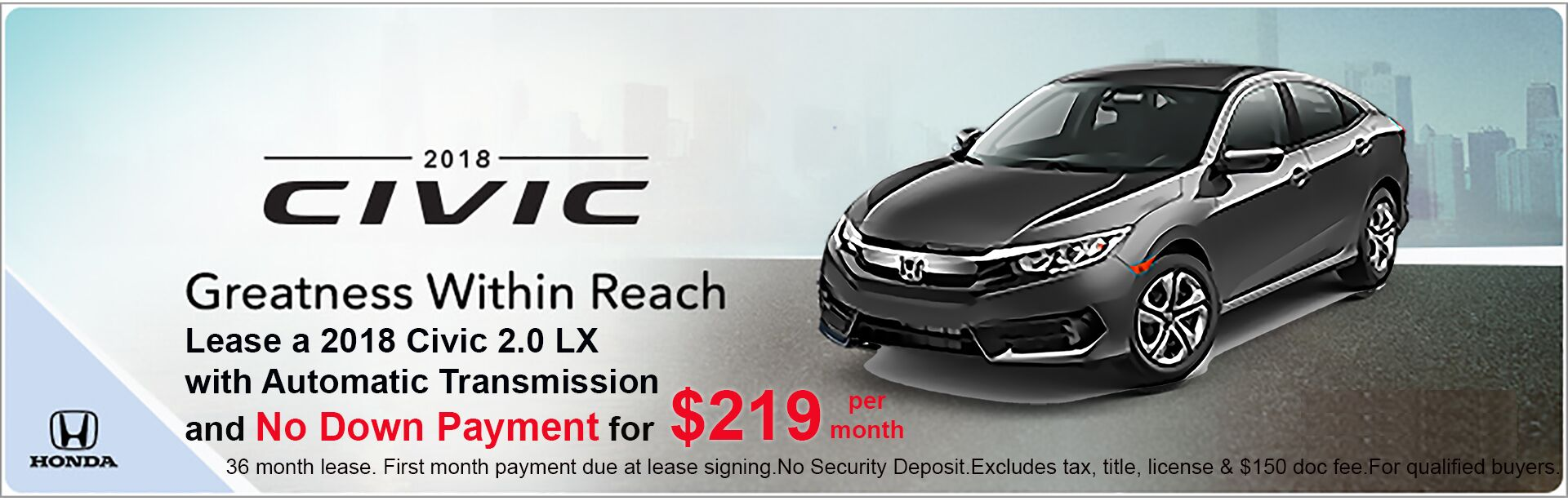 2018 Civic Lease Special