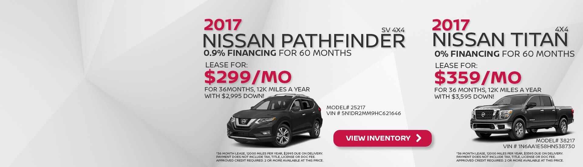 June Nissan Incentives Pathfinder and Titan