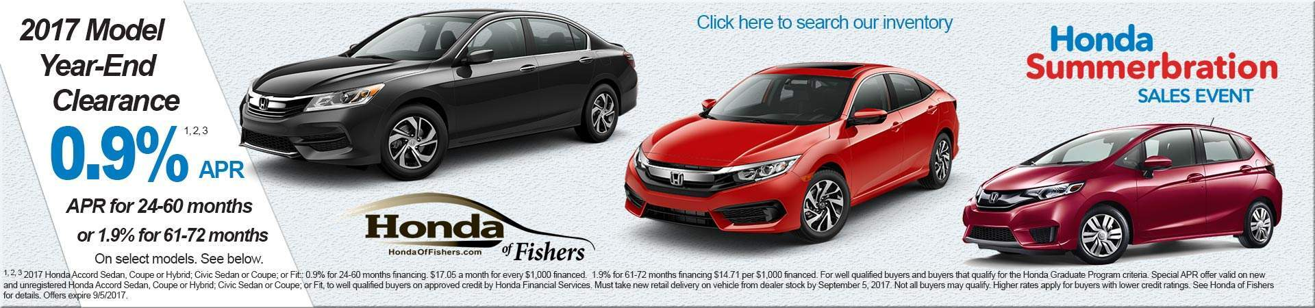 APR offers at Honda of Fishers