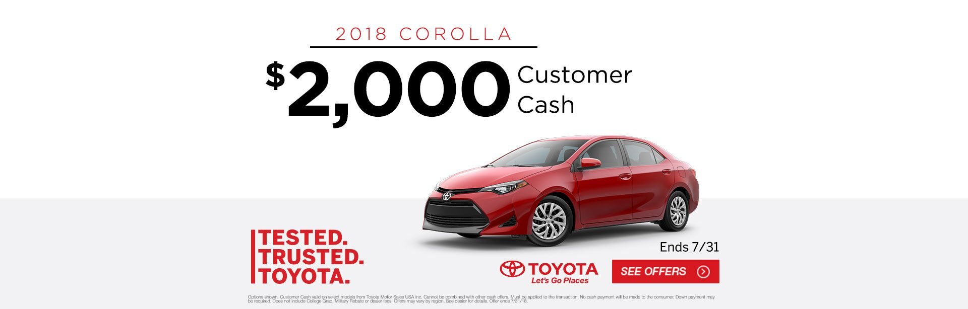 Corolla Customer Cash