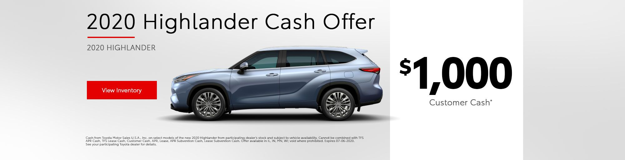 2020 Highlander Customer Cash