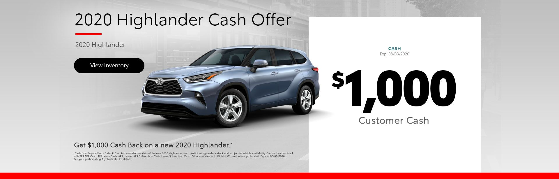 2020 Highlander Cash Offer