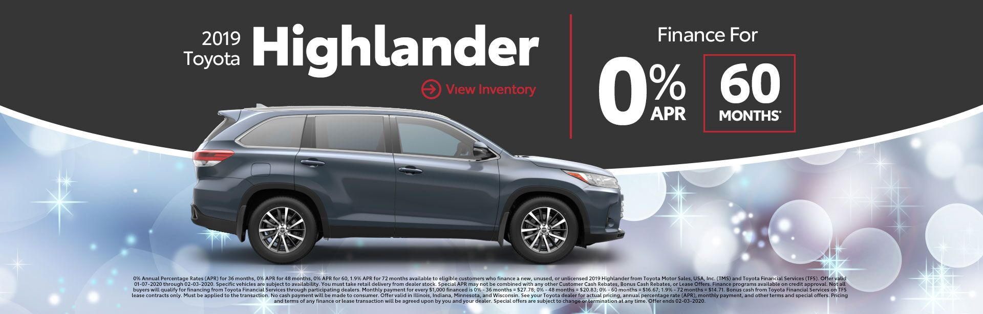 2019 Toyota Highlander 0% APR 60 Months