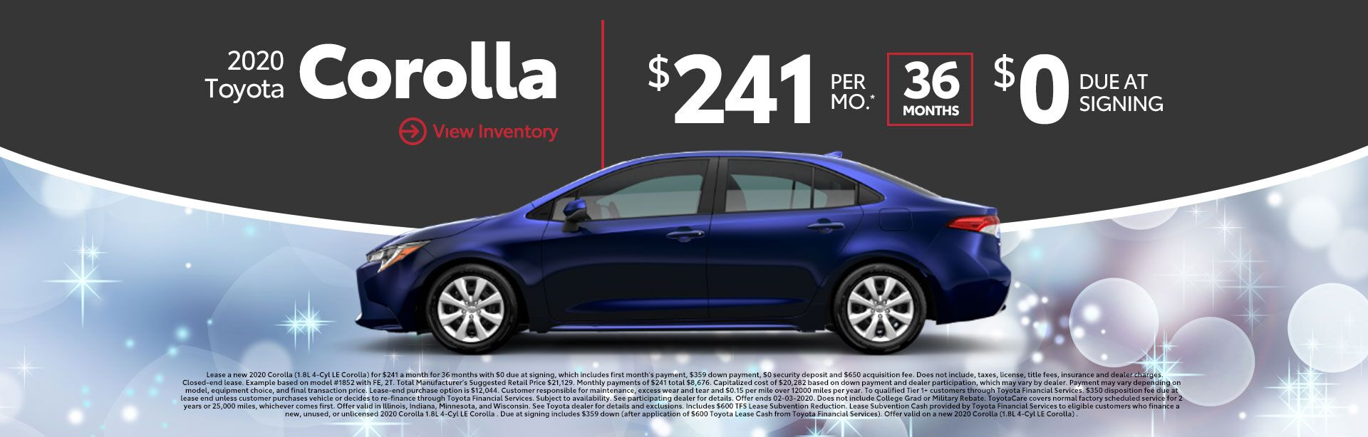 2020 Toyota Corolla $241/mo 36 Months 0% Due At Signing