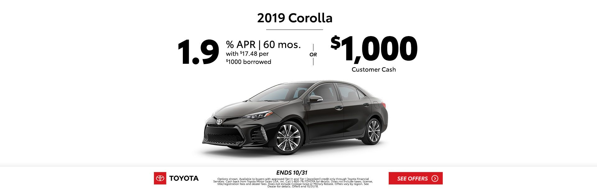 Corolla Customer Cash Oct 2018