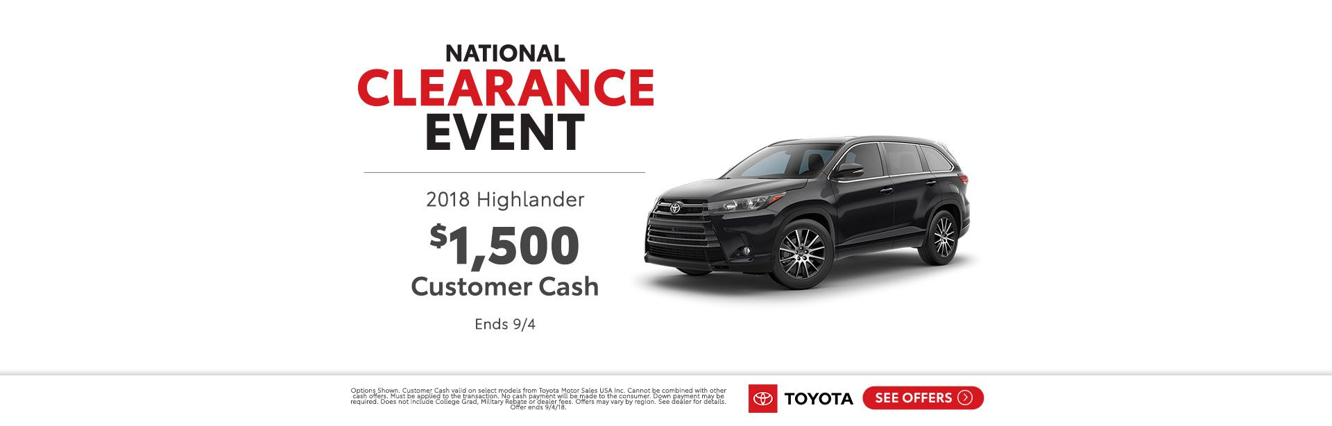 Highlander Cash Back National Clearance Event