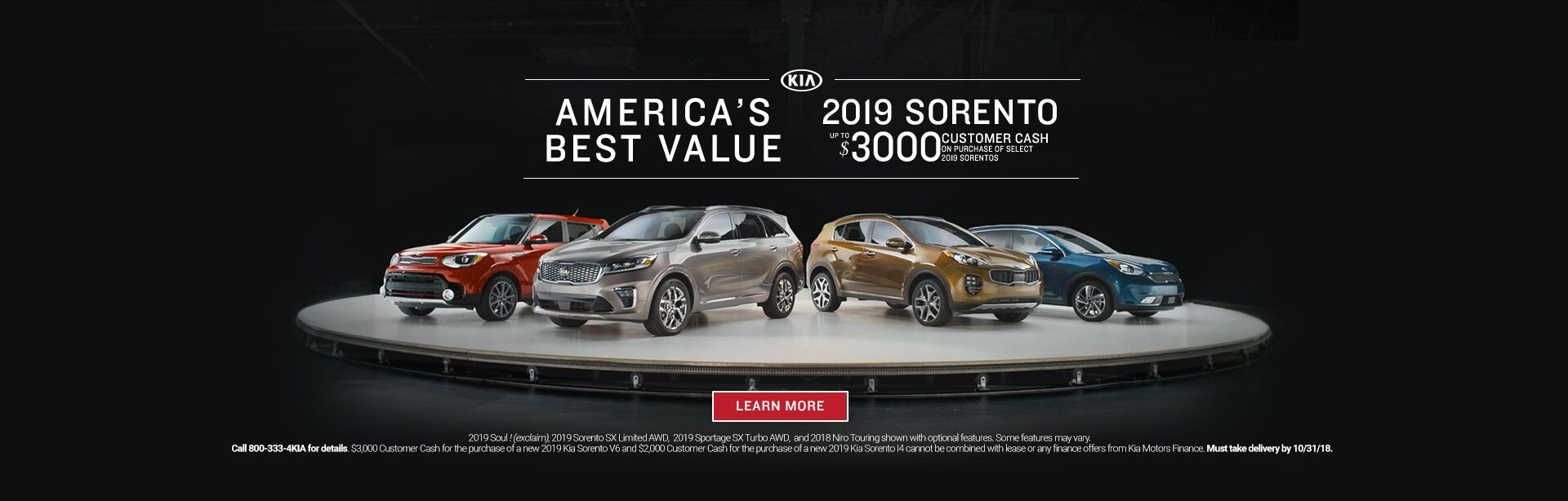 October Sorento Customer Cash
