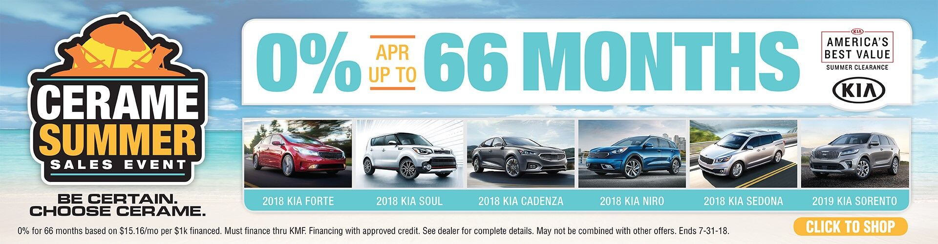0% for 66 Months on New Kia Models