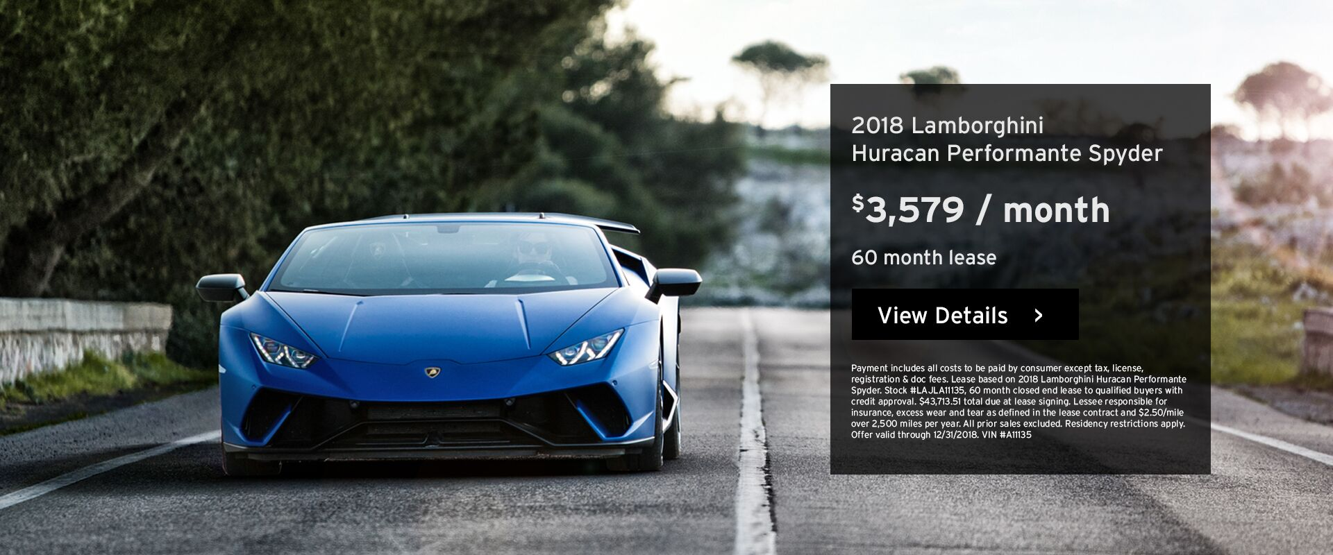 Huracan Performante Spyder Lease