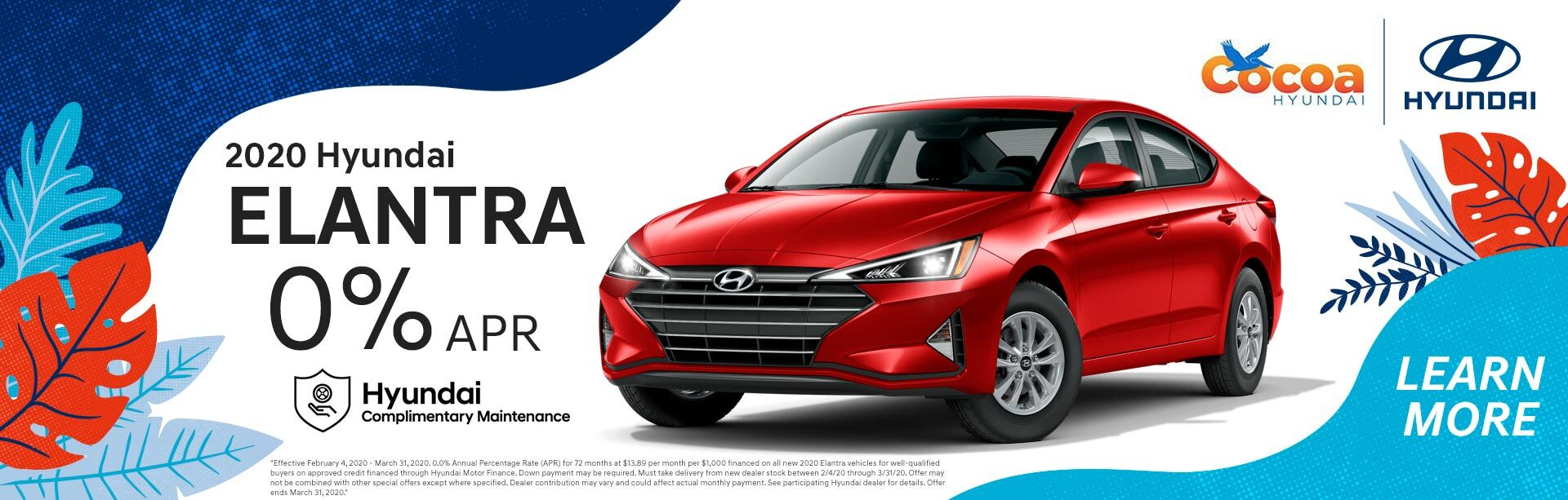 2020 Hyundai Elantra All:  Expires 3/31/2020.