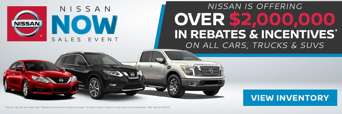 Right now, Nissan is offering $2,000,000 in rebates and incentives in Charleston SC