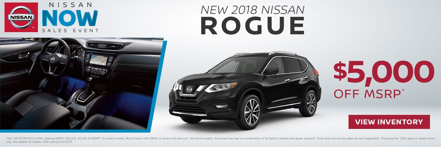 Save $5,000 off a new 2018 Nissan Rogue in Charleston SC