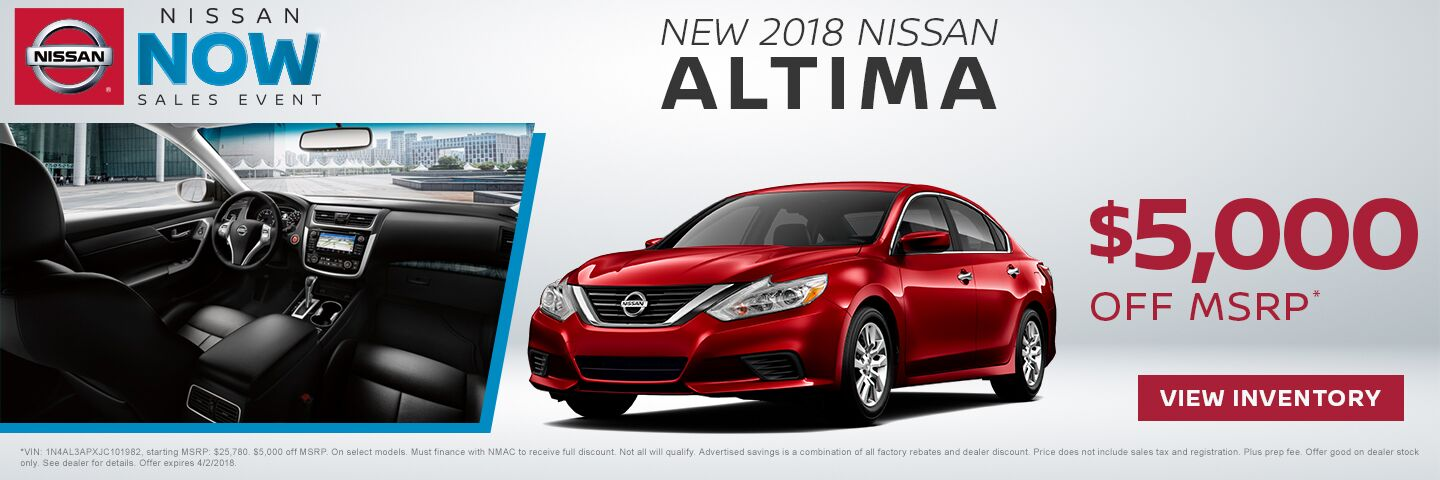 Save $5,000 off a new 2018 Nissan Altima in Charleston SC