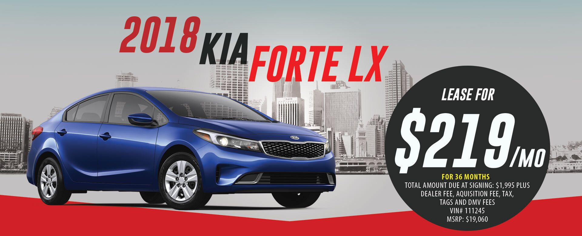 Lease a 2018 Kia Forte LX for $219/month for 36 months