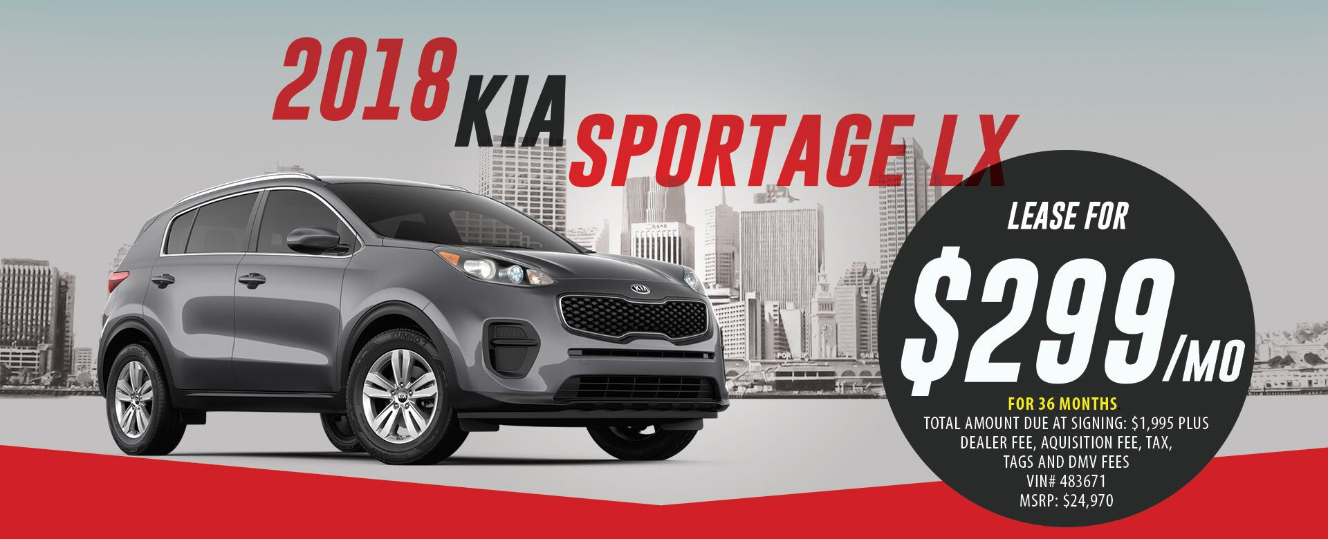 Lease a 2018 Kia Sportage LX for $299/month for 36 months