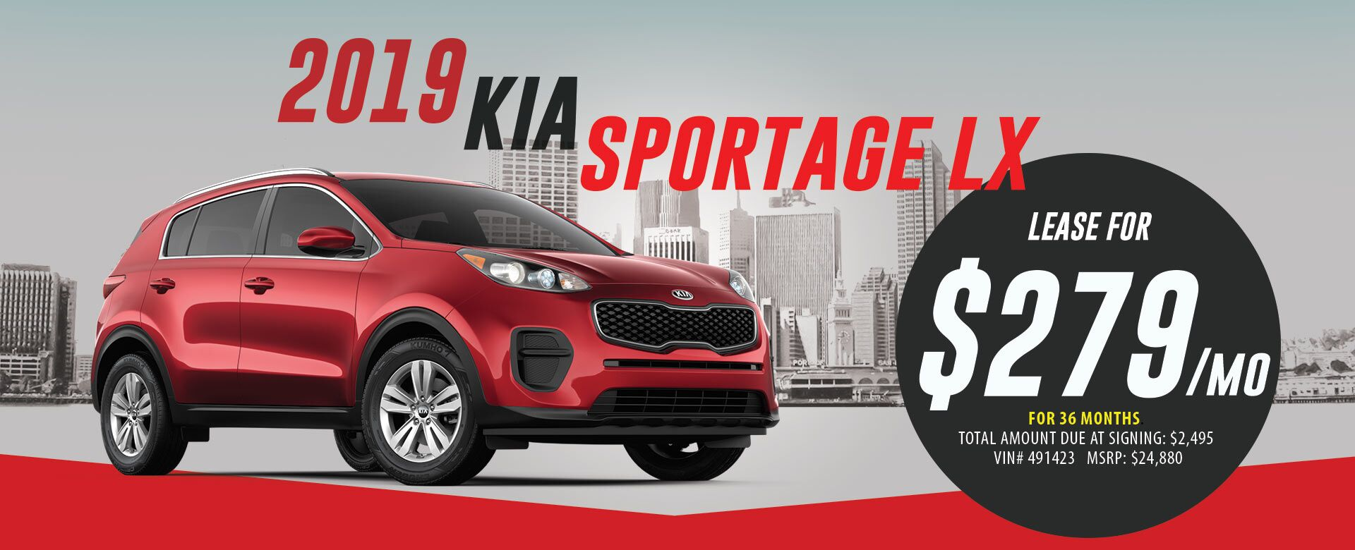 Lease 2019 Kia Sportage LX for $279/month for 36 months