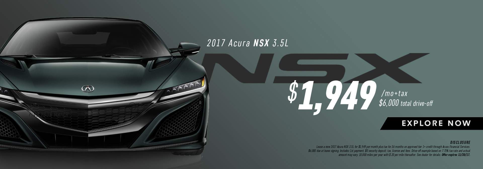 2017 Acura NSX Lease Offer