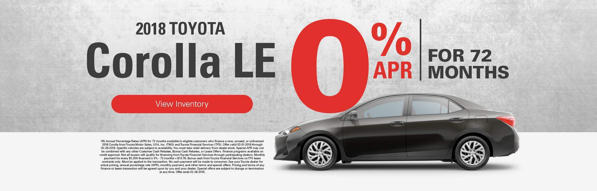 2018 Corolla LE 0% APR for 72 months