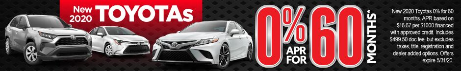 New 2020 Toyotas - 0% APR for 60 months - Click to View Inventory